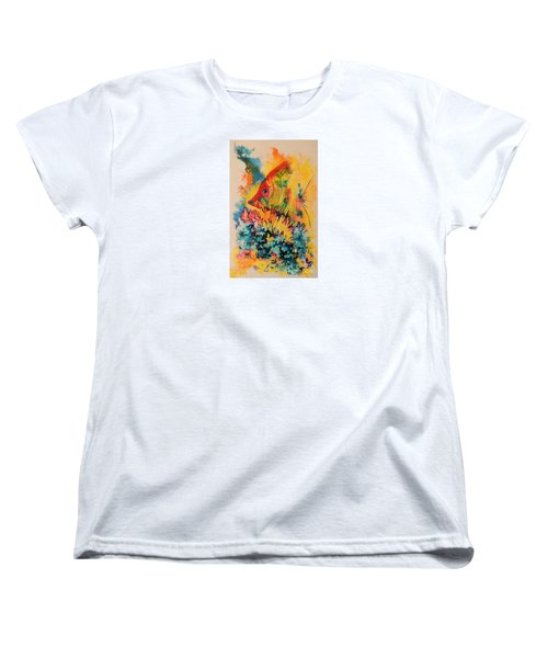 Women's T-Shirt (Standard Cut) featuring the painting Hiding Amongst The Coral by Lyn Olsen