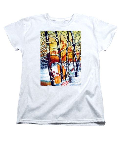 Women's T-Shirt (Standard Cut) featuring the painting Highland Creek Sunset 2  by Inese Poga