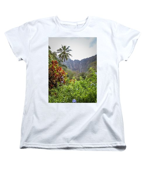 Hiilawe And Hakalaoa Falls Women's T-Shirt (Standard Cut) by Denise Bird