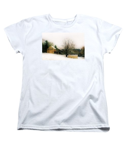 Women's T-Shirt (Standard Cut) featuring the photograph Historic 1700's Farmhouse by Polly Peacock