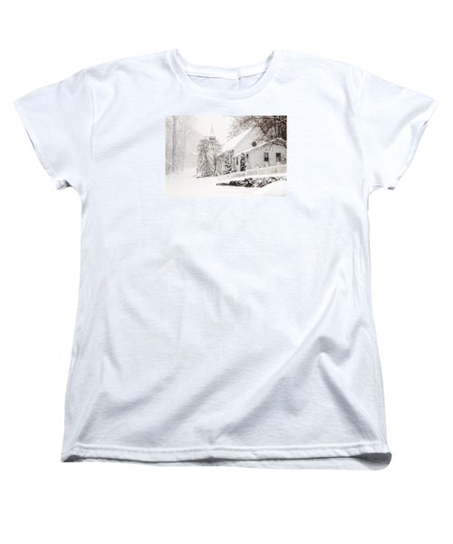 Women's T-Shirt (Standard Cut) featuring the photograph Historic Church In Oella Maryland During A Blizzard by Vizual Studio