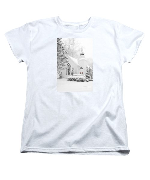 Women's T-Shirt (Standard Cut) featuring the photograph White Christmas In Oella Maryland Usa by Vizual Studio