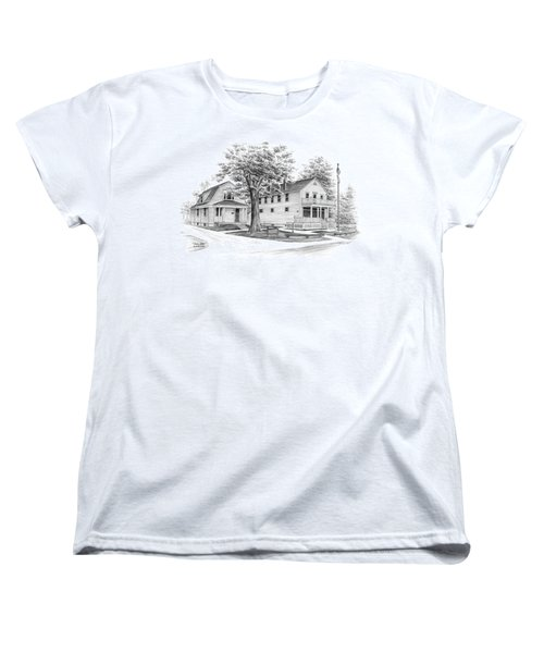Women's T-Shirt (Standard Cut) featuring the drawing Historic Jaite Mill - Cuyahoga Valley National Park by Kelli Swan