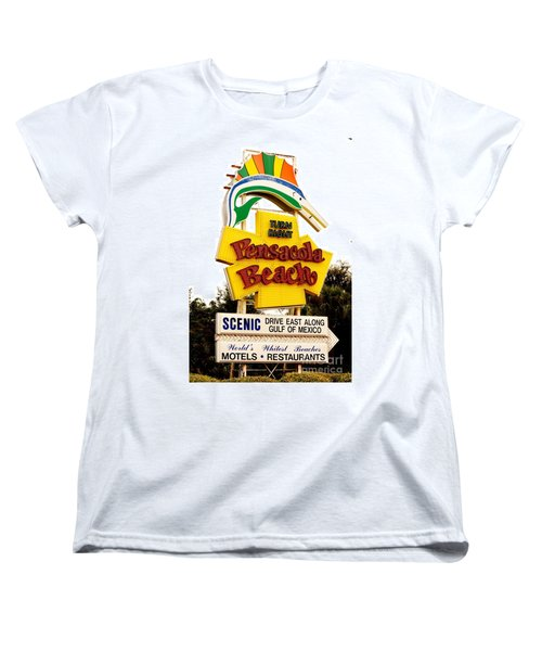 Historic Pensacola Beach Sign Women's T-Shirt (Standard Cut) by Janice Spivey