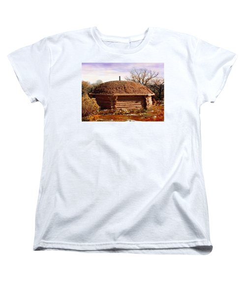 Hogan Monument Valley Winter Painting Women's T-Shirt (Standard Cut) by Bob and Nadine Johnston