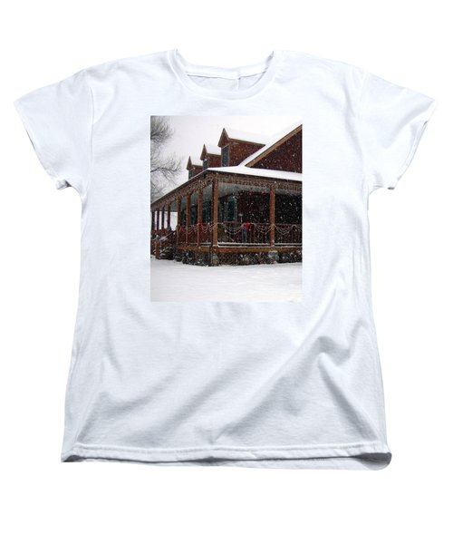 Holiday Porch Women's T-Shirt (Standard Cut) by Claudia Goodell