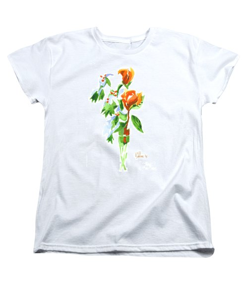 Women's T-Shirt (Standard Cut) featuring the painting Holly With Red Roses In A Vase by Kip DeVore
