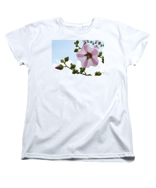 Women's T-Shirt (Standard Cut) featuring the photograph Hollyhock With Raindrops by Lana Enderle