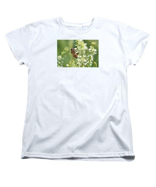 Honeybee On Sweet Clover Women's T-Shirt (Standard Cut) by Lucinda VanVleck
