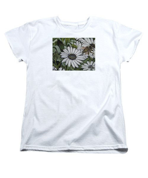 Women's T-Shirt (Standard Cut) featuring the painting Honeybee Taking The Time To Stop And Enjoy The Daisies by Kimberlee Baxter