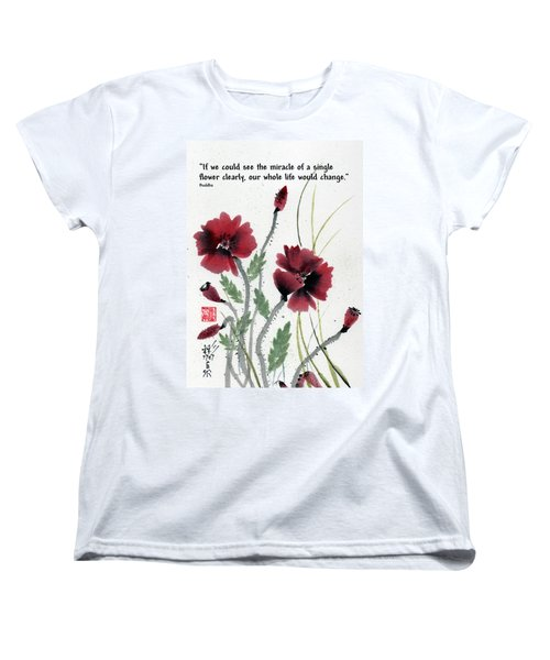 Women's T-Shirt (Standard Cut) featuring the painting Honor With Buddha Quote I by Bill Searle