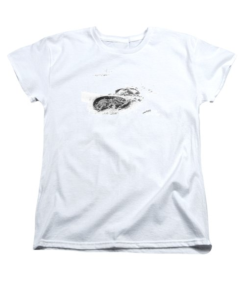 Women's T-Shirt (Standard Cut) featuring the drawing Hoof Prints by Marianne NANA Betts