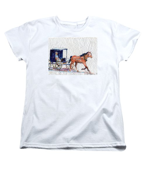 Women's T-Shirt (Standard Cut) featuring the painting Horse And Buggy by Mary Haley-Rocks