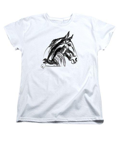 Horse- Apple -digi - Black And White Women's T-Shirt (Standard Cut) by Go Van Kampen