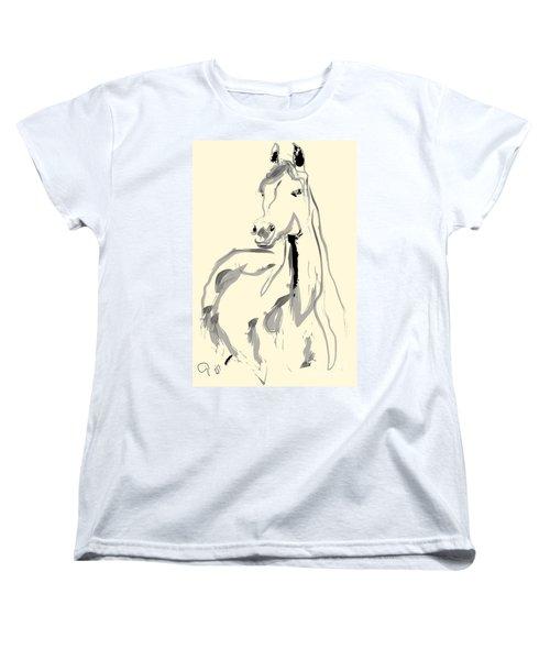 Women's T-Shirt (Standard Cut) featuring the painting Horse - Arab by Go Van Kampen