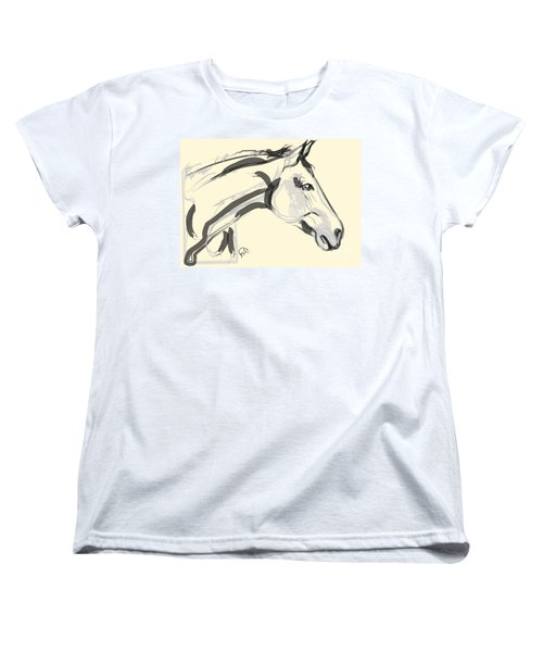 Women's T-Shirt (Standard Cut) featuring the painting Horse - Lovely by Go Van Kampen