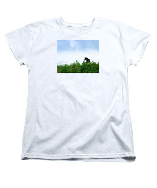 Women's T-Shirt (Standard Cut) featuring the photograph Horse On The Hill by Joan Davis