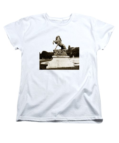 Women's T-Shirt (Standard Cut) featuring the photograph Horse Sculpture Trocadero  Paris France 1900 Historical Photos by California Views Mr Pat Hathaway Archives