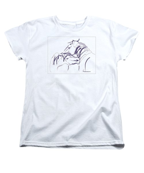 Women's T-Shirt (Standard Cut) featuring the painting Horse - Together 10 by Go Van Kampen