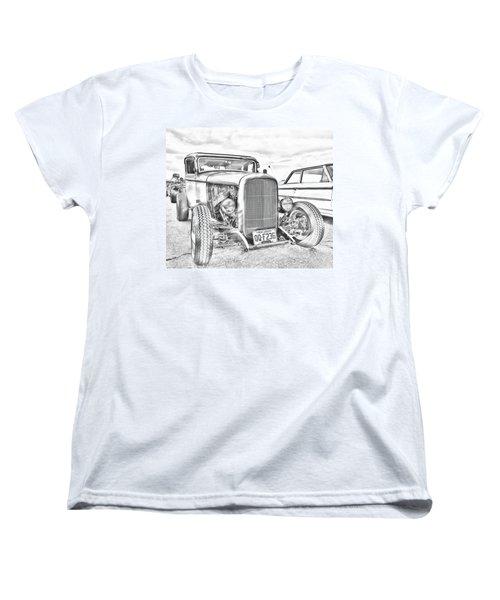 Hot Rod Faux Sketch Women's T-Shirt (Standard Cut)