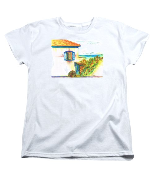 Women's T-Shirt (Standard Cut) featuring the painting Greek Island Hydra- Home by Teresa White