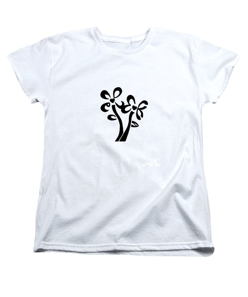 Women's T-Shirt (Standard Cut) featuring the drawing I Love You Flowers by Tamir Barkan