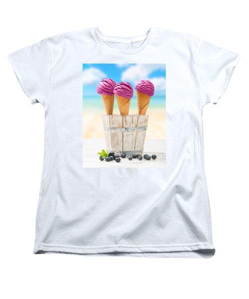 Icecreams With Blueberries Women's T-Shirt (Standard Cut) by Amanda Elwell