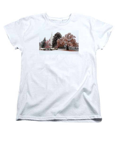 Idaho Falls Temple Winter Women's T-Shirt (Standard Cut) by David Andersen