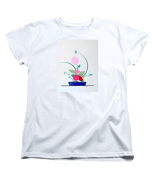 Ikebana #3 Blue Pot Women's T-Shirt (Standard Cut) by Thomas Gronowski