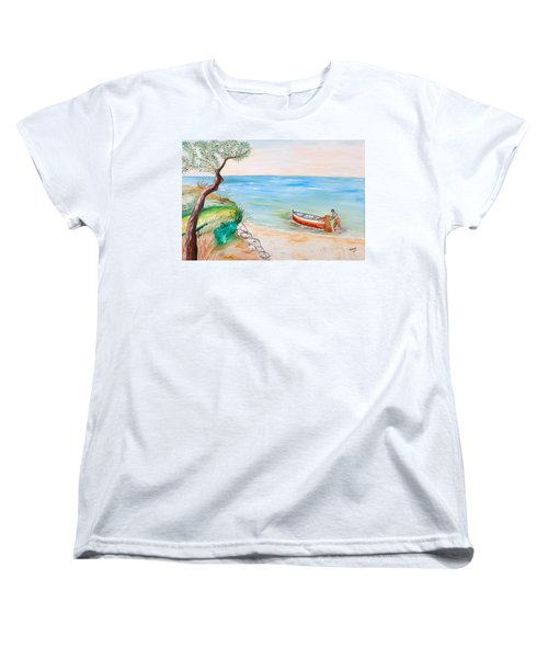 Women's T-Shirt (Standard Cut) featuring the painting Il Pescatore Solitario by Loredana Messina