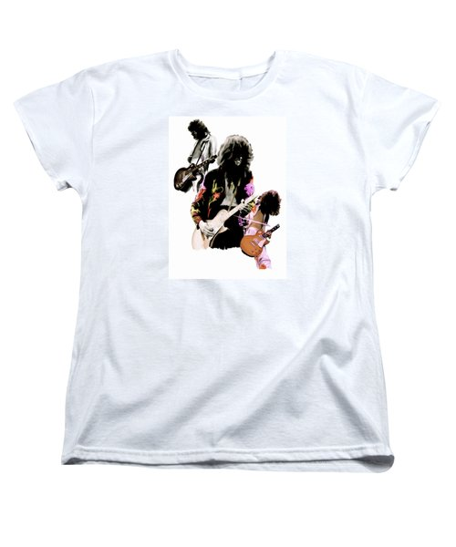 In Flight Iv Jimmy Page  Women's T-Shirt (Standard Cut) by Iconic Images Art Gallery David Pucciarelli