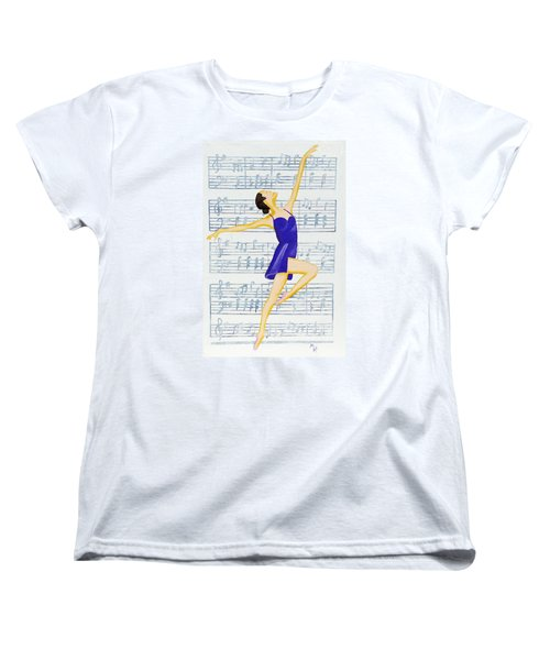 Women's T-Shirt (Standard Cut) featuring the painting In Sync With The Music by Margaret Harmon