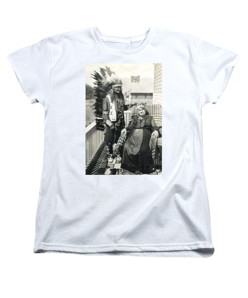 Women's T-Shirt (Standard Cut) featuring the photograph Indian Chief And Woman by Charles Beeler