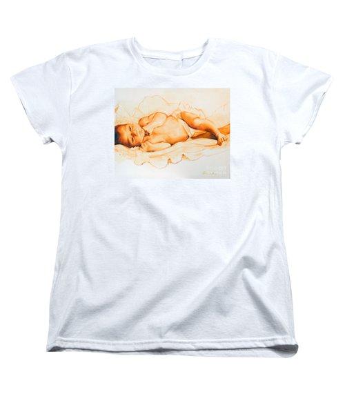 Women's T-Shirt (Standard Cut) featuring the painting Infant Awake by Greta Corens