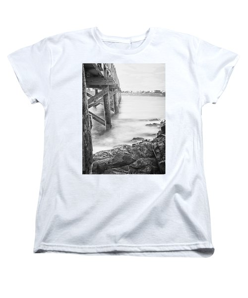 Women's T-Shirt (Standard Cut) featuring the photograph Infrared View Of Stormy Waves At Stramsky Wharf by Jeff Folger