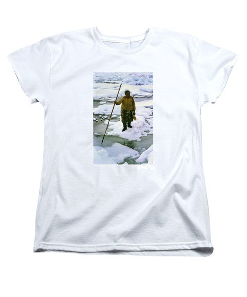 Women's T-Shirt (Standard Cut) featuring the photograph Inuit Seal Hunter Barrow Alaska July 1969 by California Views Mr Pat Hathaway Archives