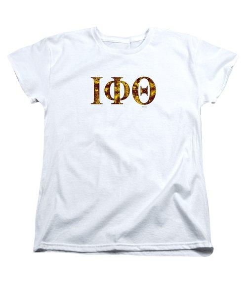 Women's T-Shirt (Standard Cut) featuring the digital art Iota Phi Theta - White by Stephen Younts