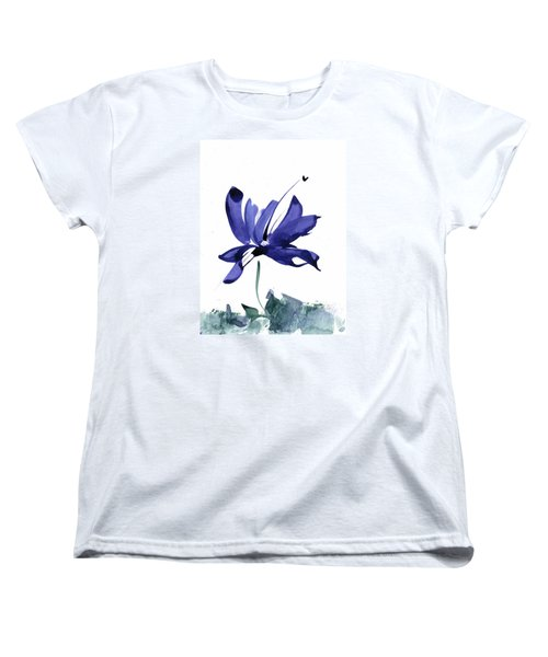 Iris In The Greenery Watercolor Women's T-Shirt (Standard Cut) by Frank Bright