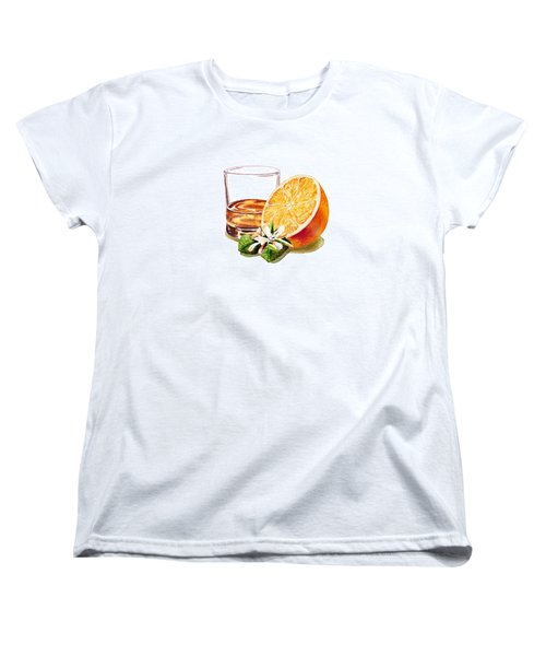 Women's T-Shirt (Standard Cut) featuring the painting Irish Whiskey And Orange by Irina Sztukowski