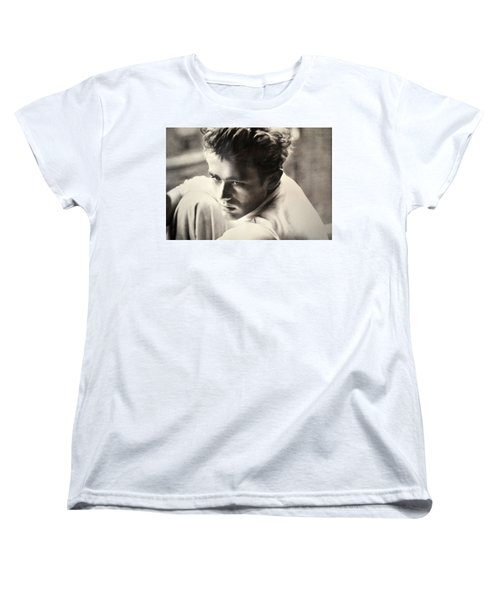 James Dean Black And White Women's T-Shirt (Standard Cut) by Jay Milo
