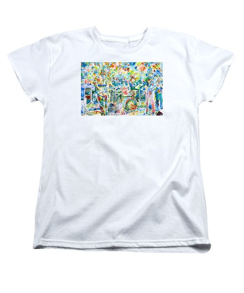 Jerry Garcia And The Grateful Dead Live Concert - Watercolor Portrait Women's T-Shirt (Standard Cut)