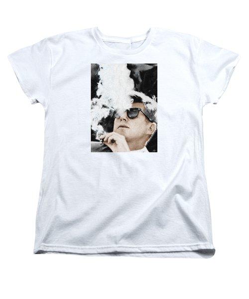 John F Kennedy Cigar And Sunglasses Women's T-Shirt (Standard Cut) by Tony Rubino