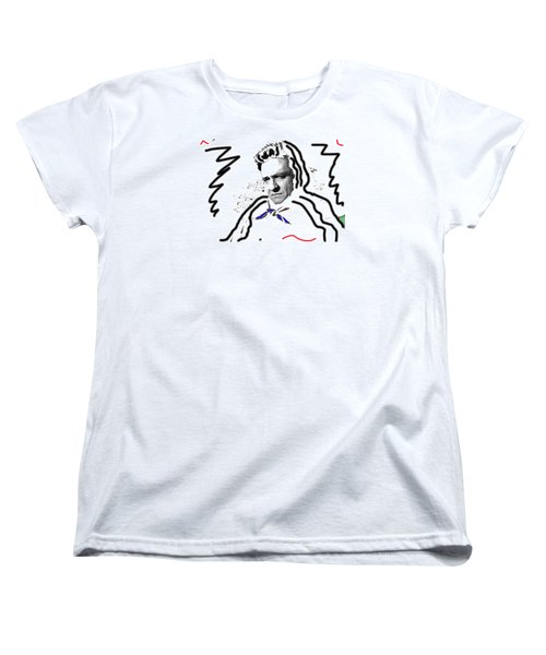 Women's T-Shirt (Standard Cut) featuring the photograph Johnny Cash Man In White Literary Homage Old Tucson Arizona 1971-2008 by David Lee Guss