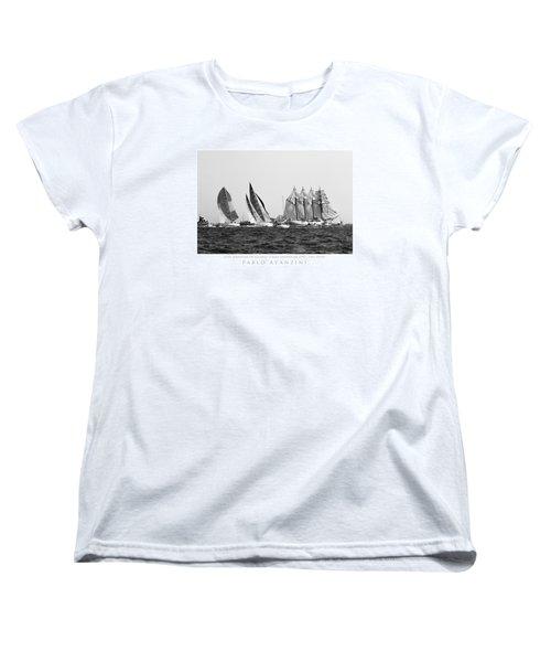 Women's T-Shirt (Standard Cut) featuring the photograph Juan Sebastian Elcano Departing The Port Of Cadiz by Pablo Avanzini