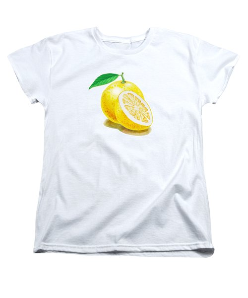 Women's T-Shirt (Standard Cut) featuring the painting Juicy Grapefruit by Irina Sztukowski