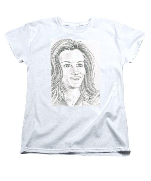 Women's T-Shirt (Standard Cut) featuring the drawing Julia Roberts by Teresa White