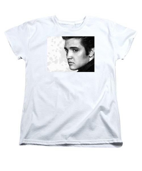 Women's T-Shirt (Standard Cut) featuring the painting King Of Rock Elvis Presley Black And White by Georgi Dimitrov