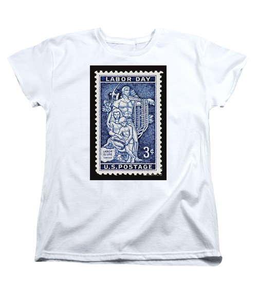 Labor Day Vintage Postage Stamp Print Women's T-Shirt (Standard Cut) by Andy Prendy