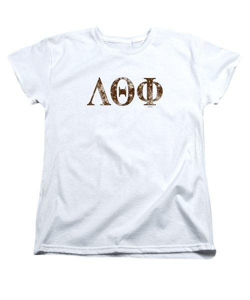 Women's T-Shirt (Standard Cut) featuring the digital art Lambda Theta Phi - White by Stephen Younts