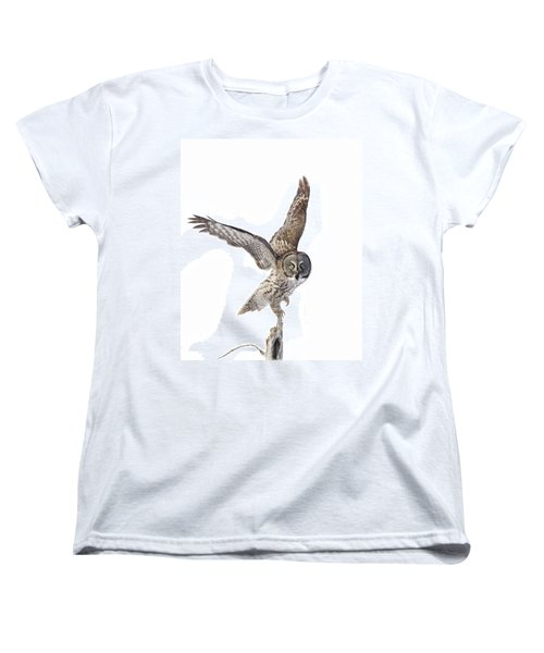 Lapland Owl On White Women's T-Shirt (Standard Cut) by Mircea Costina Photography